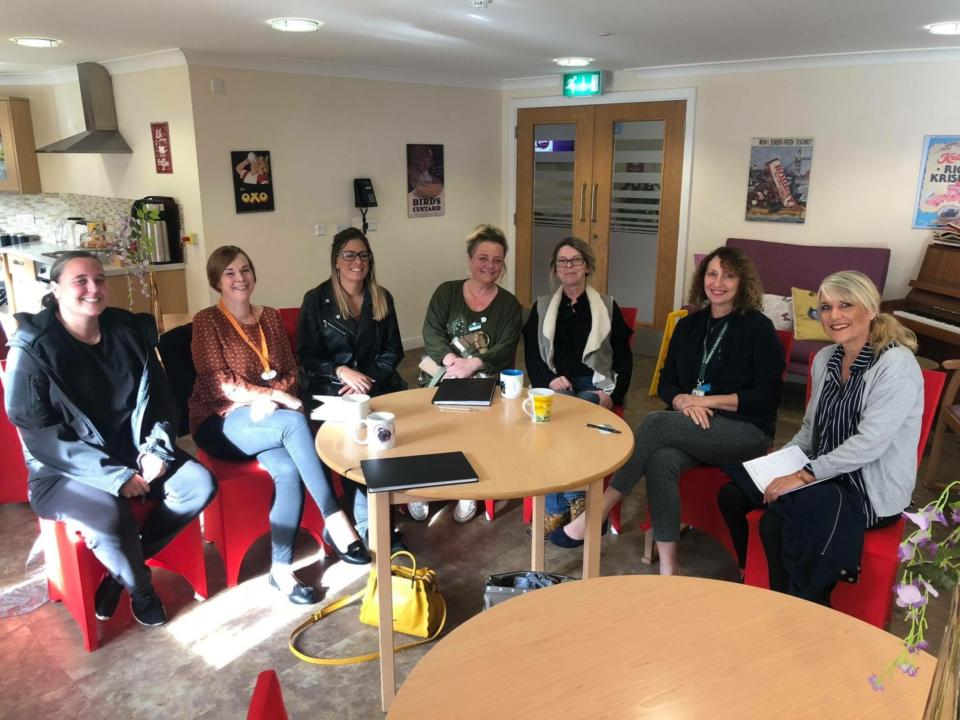 Picture of group of Essex care home activity co-ordinators discussing ideas for FaNs and community engagement