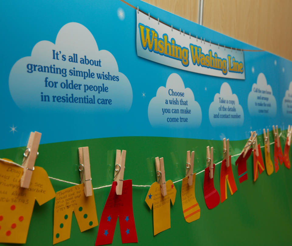 Colourful picture of wishing washing line