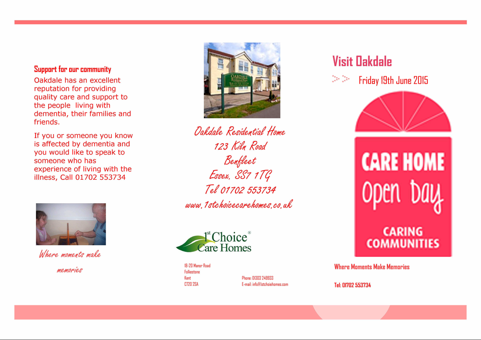 Oakdale Residential Home Benfleet Open Day Invite