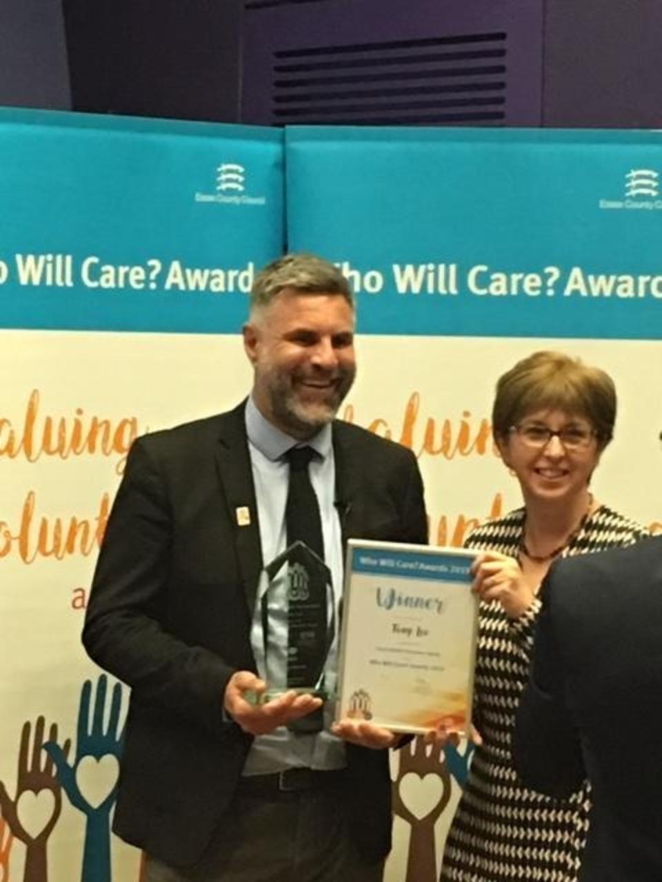 Tony Lee accepts Social Media award as ECC Who Will Care Awards 2019