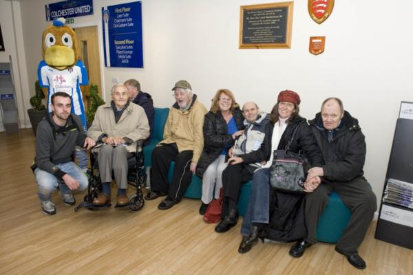 Colchester FootballClub mascot and care home residents (FaNs)