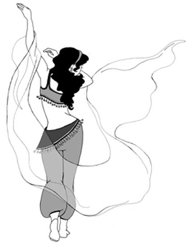 Drawing of a belly dancer